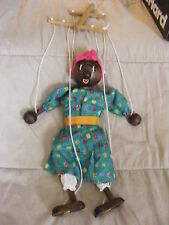 14 Inch Black Wooden Marionette Puppet in Green Dress Super Condition!