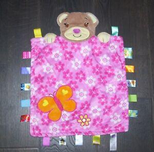 Taggies Peek A Boo Bear Baby Blanket Pink Flowers Butterfly Girl Security Lovey