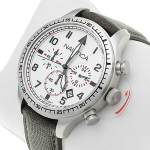 Nautica Men's White Dial Red Accents Chronograph Watch Olive Resin Leather Strap