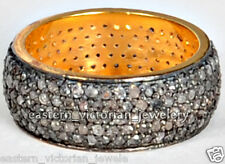 cut Diamond Silver Eternity Ring Jewelry Vintage Style 3.70Cts Genuine Pave Rose