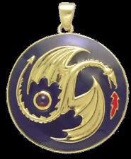 Yin Yang Dragon  (gold) Pendant by Oberon Zell with Garnet  EV29