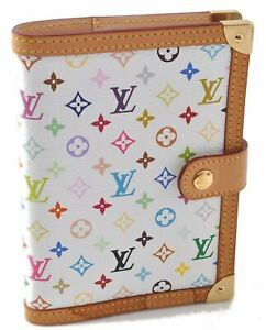Auth Louis Vuitton Monogram Multicolor Agenda PM White Day Planner Cover B5748