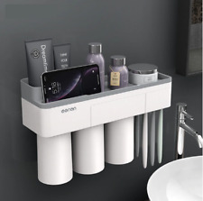 Magnetic Toothbrush Holder with Toothpaste Squeezer with Cups Bathroom Organizer
