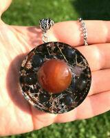 Orgone Red Agate Pendant, Black Tourmaline, Shungite, Protection, Energy. Unisex