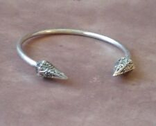 Solid Double Pyramid Spike Silver Bangle Cuff Bracelet