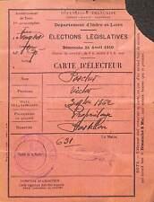 37 SAINT-CYR-SUR-LOIRE ANCIENNE CARTE D' ELECTEUR 1910