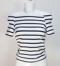 VERO MODA blue white striped Stretch Off the shoulder short sleeve Top S 8 10