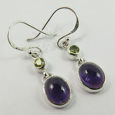 Real AMETHYST & PERIDOT Gems Two Stones Earrings 925 Sterling Silver Top Gift