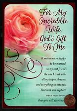 Pink Rose For Wife Pink Shine Religious Birthday Greeting Card New - W/ Tracking