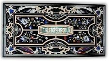 6'x4' Black Marble Dining Table Top Gems Inlay Floral Pietra Dura New Year Decor