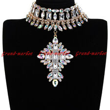 Fashion Jewelry Chain Glass Crystal Chunky Choker Statement Pendant Bib Necklace