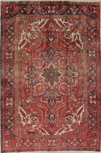 Heriz Hand-Knotted Traditional Area Rug Oriental Geometric Wool Rug 7' x 11'