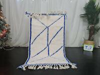 "Moroccan Handmade Beni Ourain Carpet 3x4'9"" Abstract White Blue Wool Berber Rug"