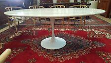 "Eero Saarinen Tulip Style Table 78"" Real Marble Tulip Dining Desk Midcentury MCM"