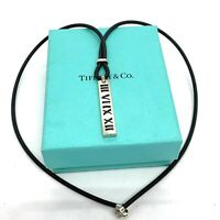 "Tiffany & Co. Enamel Sterling Silver Atlas Pendant Rudder Necklace. 20"". Lot23."