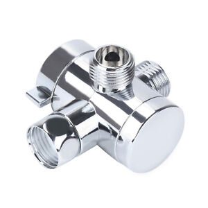 "1/2"" 3-Way T-Adapter Shower Head Diverter Valve for Shower Bath mixer Tap Rail"