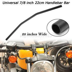 """Universal Motorcycle Drag Bars Black Steel Motorbike Handlebars 7/8"""" 22mm"""