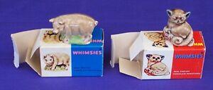 Wade Whimsies Pig & Bush Baby Possum Figurines England Boxed