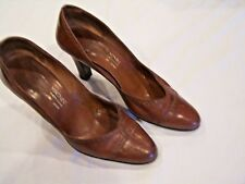 Joseph Magnin brown leather vintage pumps/shoes/heels, sz. 7.5B