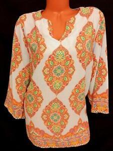 Cynthia Rowley blue orange victorian 3/4 sleeves v cut neck plus sheer top 2X