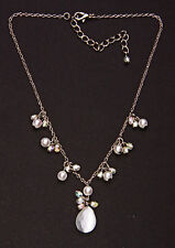 SILVER METAL NECKLACE W. PEARLY & FACETED BEADS & PENDANT, 7CM ADJUSTABLE (ZX40)