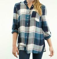 NEW Ladies Blue Check Tunic Length Supersoft Shirt RRP £25 Now £12 SAVE £13