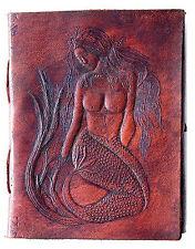 Handmade Leather Journal Mermaid Diary Leather Bound Sketchbook Notebook Artist