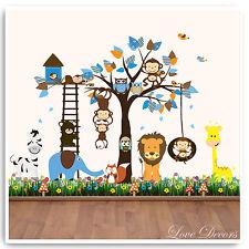 Monkey Wall Stickers Owl Animal Jungle Zoo Tree Nursery Baby Bedroom Decals Art