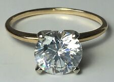 1.5 Carat Cubic Zirconia CZ Solitaire Engagement Ring 14k Yellow Gold Size 5.75