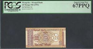 Mongolia 20 Mongo ND(1993) P50 Uncirculated Graded 67