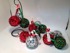 Lot of 4 NEW 3 pc SILVESTRI Red Green & Silver Christmas Ball Ornament Clusters
