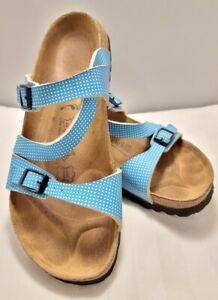 Blue W/White Polka-dots Birkies Sandals Ladies Size 9