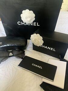 Chanel Black Square Polarised Sunglasses Comes With Box, Bag And Case