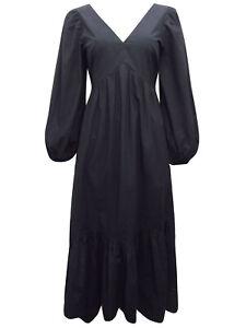 NEW WAREHOUSE BLACK Cotton Tiered Hem Dress 6 8 10 12 14 16 18
