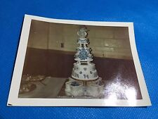 Vintage PHOTO 3 Tier Blue Wedding Cake With Heart Shaped Base Cakes