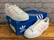 ADIDAS LADIES UK 4 EU 36 2/3 WHITE PINK SNAKE SKIN GOLD SUPERSTAR TRAINERS £80 J