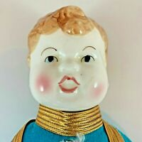 Shackman Boy Blue Porcelain Doll With Vintage Outfit