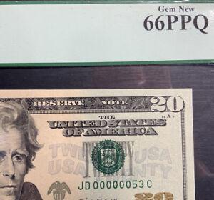 LOW SERIAL #53 -2009 US $20 PCGS Gem New 66PPQ JD 00000053 C