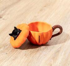 STARBUCKS HONG KONG 2021 Black Cat on Pumpkin Mug 10oz 南瓜小黑貓造型咖啡杯 HALLOWEEN
