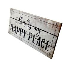 "Shabby Chic ""this is my HAPPY PLACE"" Wooden Sign Home Art Decor Wall Plaque"