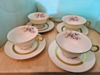 VINTAGE THEODORE HAVILAND NEW YORK GAINSBOROUGH SET 4 CUPS 4 SAUCERS