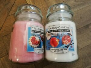Yankee Candle BRAND NEW x2 Large Jars Pomegranate Coconut & Strawberries & Cream