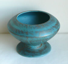 Vintage 1961 Freeman McFarlin Art Pottery Blue Gold Pot Vase Modern USA