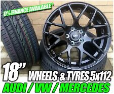 "18"" Gloss Black wheels and tyres to fit VW golf MK5 6 7 gti tdi golf r 5x112"