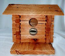 Cedar Wood Log CabinBirdhouse Made from Repurposed Wood-Handmade-Peaked Roof
