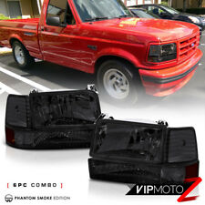 SMOKED 1992-1996 Ford F150 F250 F350 Bronco Corner Bumper Signal Headlight Lamps