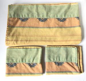 Vintage Westpoint Stevens NY Queen Flat Sheet Pillowcases Southwest Aztec USA