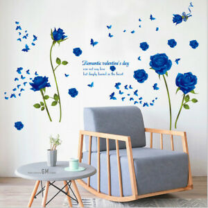 Removable Blue Rose Wall Sticker Vinyl Art Wall Mural Decal Home Room Decor DIY