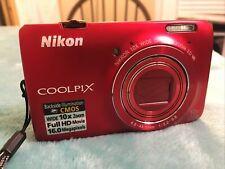NIKON COOLPIX S6300 Digital Camera Red 16 MP 10X Wide Full HD