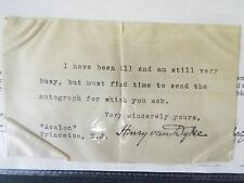 Henry Van Dyke - Typed Note Signed - Undated